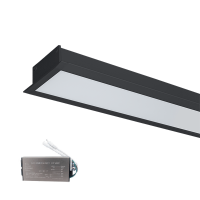 HIGH POWER LED PROFILE RECESSED S48 20W 4000K BLACK+EMERGENCY KIT